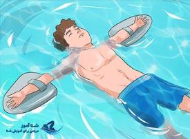 آموزش خوابیدن روی آب با وسایل کمک آموزشی | شنا آموز